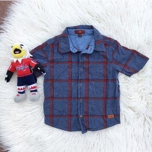 7 For All Mankind Plaid Button Down Shirt 3T